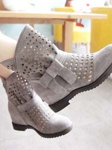 Women's Boots Flat Heel Round Toe Bowknot PU(Polyurethane) Booties / Ankle Boots / Mid-Calf Boots Fashion Boots / Bootie Fall / Winter Gray / Yellow / Red - Vipbeautycompany