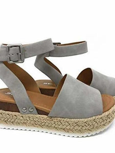 Women's PU(Polyurethane) Summer Casual Sandals Wedge Heel Open Toe Gray / Brown / Leopard - Vipbeautycompany