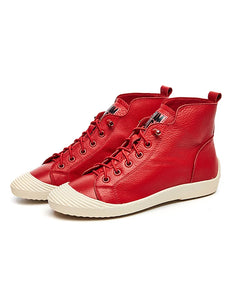 Women's Nappa Leather Spring Sneakers Flat Heel Black / Beige / Red - Vipbeautycompany