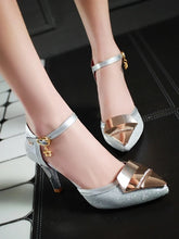 Load image into Gallery viewer, Women's Heels Stiletto Heel Pointed Toe Buckle / Split Joint Customized Materials Comfort / Ankle Strap Walking Shoes Spring / Summer Gold / Black / Silver / Wedding / Party & Evening / 3-4 - Vipbeautycompany