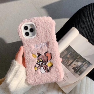 Winter Warm Cute Wool Plush Phone Case For iPhone 11 Pro Max 6 6S 7 8 Plus Soft Furry Fur Back Cover For iPhone X XS XR - Vipbeautycompany