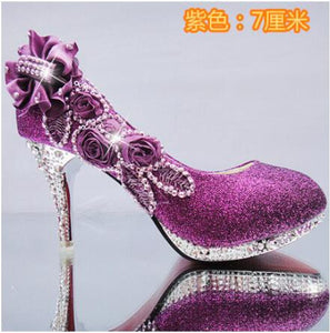 2019 Beautiful Glitter Wedding Bridal Party Evening Crystal High Heels Women Shoes Sexy Woman Pumps Fashion Bridal Shoes 9 Color - Vipbeautycompany