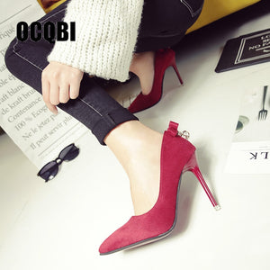 2020 New High Heels Women Fashion Pointed Toe Office Shoes Women's Solid Flock Shallow High Heels Red Bottom Crystal Shoes - Vipbeautycompany