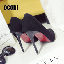 Load image into Gallery viewer, 2020 New High Heels Women Fashion Pointed Toe Office Shoes Women's Solid Flock Shallow High Heels Red Bottom Crystal Shoes - Vipbeautycompany