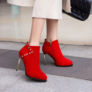 2019 Winter New Women Thin High Heels  Ankle Boots Crystal Red Bottom High Heels Fashion Wedding Shoes - Vipbeautycompany