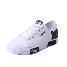 Load image into Gallery viewer, 2019 Women Vulcanized Sneakers Breathable Flat Casual White Shoes Cat Woman Spring and Autumn Canvas Shoes White Black - Vipbeautycompany