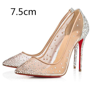 2019 summer Classic Women's Fashion Single Shoes Pointed Rhinestone Mesh Breathable High Heels Red Bottom - Vipbeautycompany