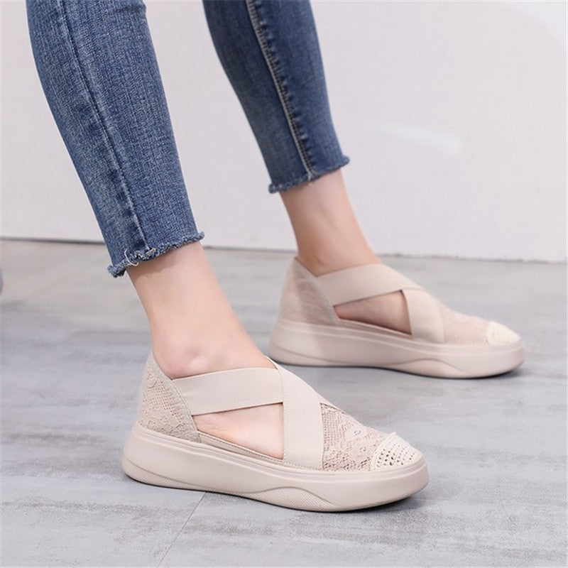 Shoes Woman flock Comfortable Breathable Mesh vulcanized shoes Jelly Shoes Sandals Hollow Out - Vipbeautycompany