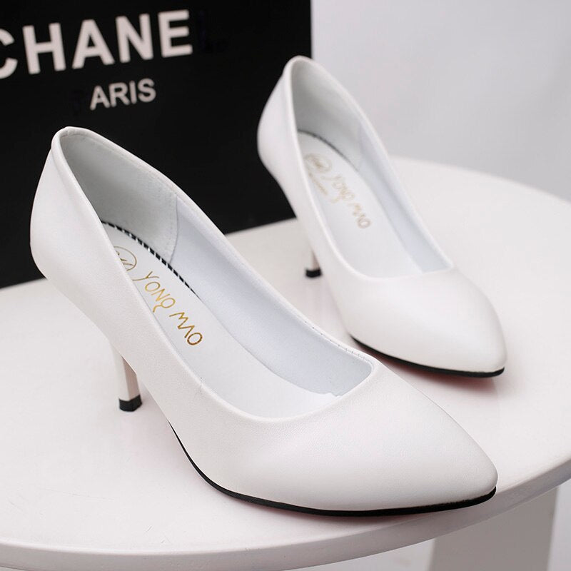 2020 new red bottom high heels shallow mouth Pointed Toe PU leather Thin Heels wedding party sexy high heels zapatos de mujer - Vipbeautycompany