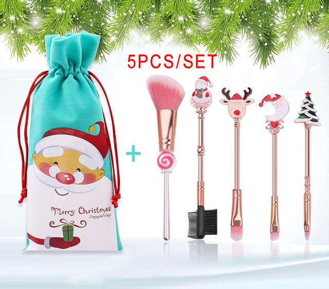 2019 Christmas Makeup Brushes Set Soft Synthetic Hair Cosmetic Eyeliner Foundation Powder Blending Eye Shadow Makeup Tools - Vipbeautycompany