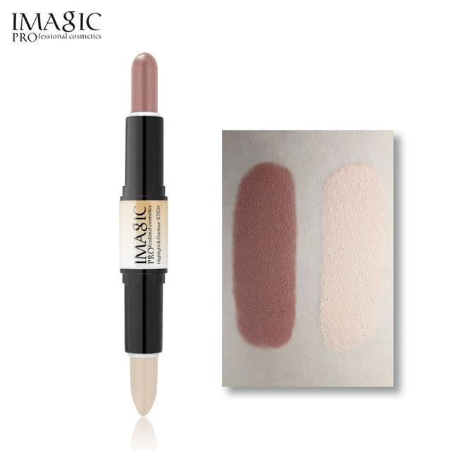 IMAGIC Makeup Creamy Double-ended 2in1 Contour Stick Contouring Highlighter Bronzer Create 3D Face Concealer Full Cover Blemish - Vipbeautycompany
