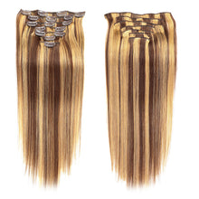 Load image into Gallery viewer, Febay Clip In Human Hair Extensions Straight Remy Human Hair Human Hair Brazilian Hair Medium Brown / Bleached Blonde - Vipbeautycompany