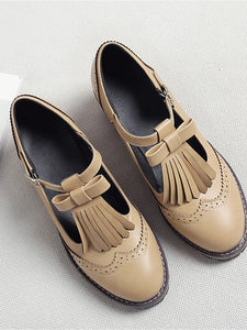 Women's Oxfords Chunky Heel Round Toe PU(Polyurethane) T-Strap Spring & Summer Black / Beige / Brown / Daily / EU40 - Vipbeautycompany