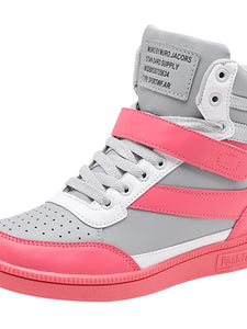 Women's Sneakers Wedge Heel Round Toe Buckle PU(Polyurethane) Booties / Ankle Boots Comfort Fall Fuchsia / Peach / Green - Vipbeautycompany