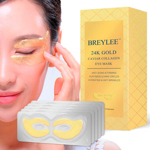 BREYLEE 24K Gold Eye Mask Caviar Collagen Essence New Style Eye Patch Anti Aging Remove Wrinkle Sheet Mask Eye Skin Care 10pairs - Vipbeautycompany