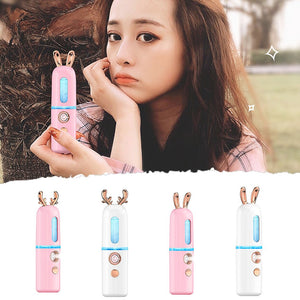 Nano Hydrating Instrument Spraying Machine Negative Ion Nano Steaming Face Moisturizing Cute Fawn Bunny - Vipbeautycompany