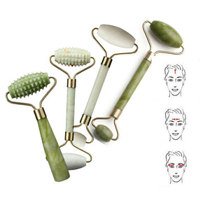 Double Head Green Jade Roller Massager Eye Face Neck Facial Relax Slimming  Care Tools - Vipbeautycompany