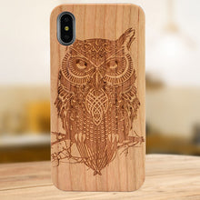 Load image into Gallery viewer, Laser Engraving Real Wood Cell Phone Case for iPhone XS MAX XR 7 8PLUS X Wooden Unique Shock Customized Bamboo Phone Cover Shell - Vipbeautycompany