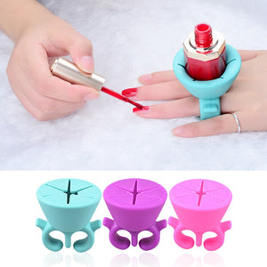 Nail Art Finger Ring Style Gel Polish Varnish Wearable Flexible Silicone Holder Stand Support Manicure Tools - Vipbeautycompany