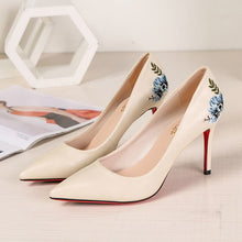 Load image into Gallery viewer, 8 cm Women Pumps Stiletto Embroider Red Bottom Thin High Heels Party Shoes 2019 Spring Slip On Elegant Chaussures Femme ete - Vipbeautycompany
