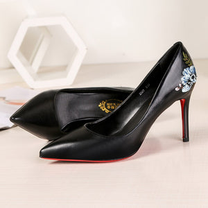 8 cm Women Pumps Stiletto Embroider Red Bottom Thin High Heels Party Shoes 2019 Spring Slip On Elegant Chaussures Femme ete - Vipbeautycompany