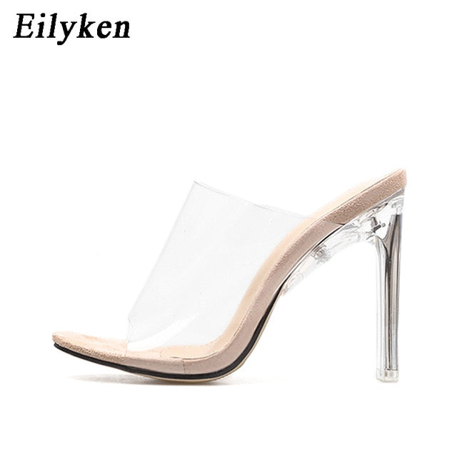 Women Slippers PVC Crystal heel Transparent Sexy Clear High heels Summer Slides Sandals Pumps 11cm Black Apricot - Vipbeautycompany