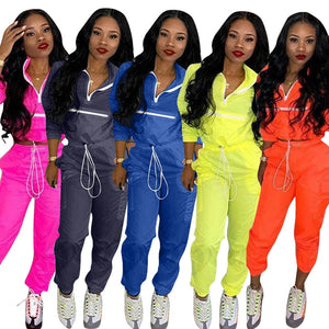Women zip up neck long sleeve short trench safari long pants suits two pieces set - Vipbeautycompany