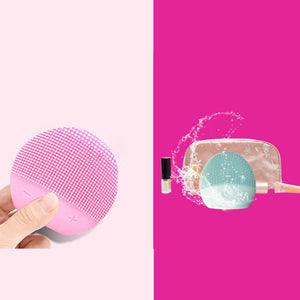 USB Facial Cleansing Brush Sonic Vibration Mini Face Cleaner Silicone Deep Pore Cleaning Electric Waterproof Massage - Vipbeautycompany