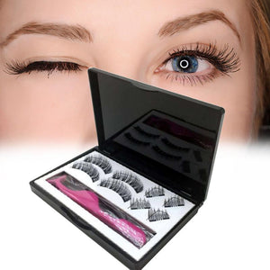 8pcs Magnetic eyelashes with 3 magnets handmade 3D magnetic lashes natural false eyelashes magnet lashes with gift box 40 - Vipbeautycompany
