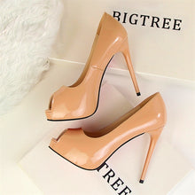 Load image into Gallery viewer, High Heels Shoes Women Classic Pumps Women Heels Sexy Peep Toe Women Wedding Shoes Stiletto 12 cm - Vipbeautycompany