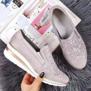 Autumn Women Flat Bling Sneakers Casual Vulcanized Shoes Female Lace Up Ladies Platform Comfort Crystal Loafers Fashion Shoes - Vipbeautycompany