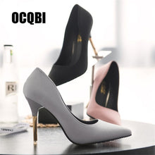 Load image into Gallery viewer, Classic Black Pink Grey Red Bottom Brand Women Shoes Thin Super High Heels Pumps 10cm Silk Pointed Toe Evening Party Dress Pumps - Vipbeautycompany