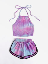 Load image into Gallery viewer, Tie-Dye Gradient Halter Crop Top and Shorts 2 Piece - Vipbeautycompany