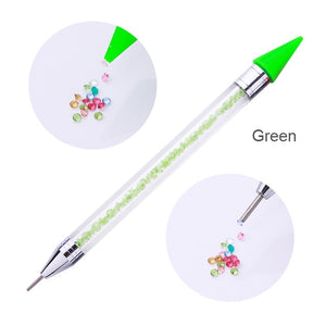 Dual-ended Nail Dotting Pen Crystal Beads Handle Rhinestone Studs Picker Wax Pencil Manicure Nail Art Tool - Vipbeautycompany