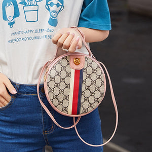Women Shoulder Bags Tiger Head PU Leather Handbags Bags Ladies Party Fashion Round Popular Shape Printing Girls Crossbody Bag - Vipbeautycompany