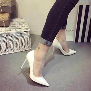 New Pointed Thin High Heels Slip-on Red At Bottom Party Shoes - Vipbeautycompany