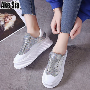 Female Women Leisure Mujer Lady Lace-Up Plimsolls Chaussures Slugged Bottom Flange Soled Walking Heighten Flat Casual Shoes A466 - Vipbeautycompany