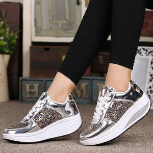Glitter Flats Sneakers Bling Shinny Casual Women Shoes 2019 New Fashion Ladies Fluorescent Flat Shoe Glossy Golden Color - Vipbeautycompany