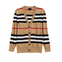 Load image into Gallery viewer, VIP collection V-neck loose striped sweater thin ladies trench coat - Vipbeautycompany