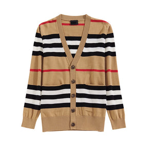VIP collection V-neck loose striped sweater thin ladies trench coat - Vipbeautycompany