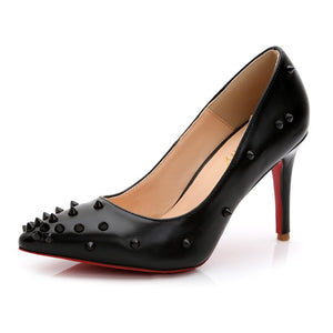 Lady's Sexy Hot Sale European and American Style Rivets Pointy Toe Red Bottoms Plus size 35-43 High heels Women Pumps Nigh Club - Vipbeautycompany