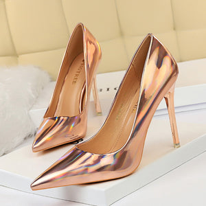 Metal Heel with High-heeled Shiny Patent Leather Shallow Mouth Pointed Sexy Sexy Nightclub Was Thin Heels Wedding Shoes Banquet - Vipbeautycompany