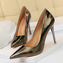 Load image into Gallery viewer, Metal Heel with High-heeled Shiny Patent Leather Shallow Mouth Pointed Sexy Sexy Nightclub Was Thin Heels Wedding Shoes Banquet - Vipbeautycompany