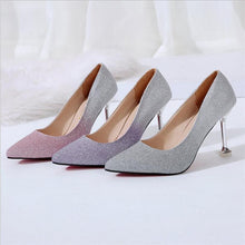 Load image into Gallery viewer, New High Heel Stiletto Shallow Mouth Single Shoes Fashion Sequins High Heel Shoes Red Bottom High Heels Ladies Wedding Shoes - Vipbeautycompany