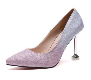 New High Heel Stiletto Shallow Mouth Single Shoes Fashion Sequins High Heel Shoes Red Bottom High Heels Ladies Wedding Shoes - Vipbeautycompany
