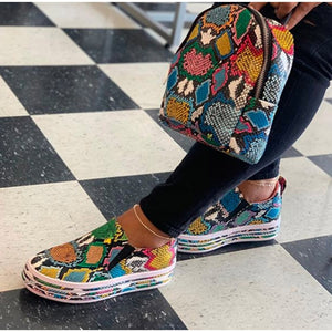 New Women Vulcanized Shoes Snake Printing PU Leather Sneakers Female Slip On Fashion Platform Woman Shoes Walking Footwear - Vipbeautycompany