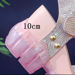 Platform Sandals Women's Jelly Shoes Fashion Rhinestone Wedges Shoes For Woman Summer Sandals 2020 Summer Woman Transparent Shoe - Vipbeautycompany