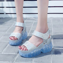 Load image into Gallery viewer, Platform Sandals Women's Jelly Shoes Fashion Rhinestone Wedges Shoes For Woman Summer Sandals 2020 Summer Woman Transparent Shoe - Vipbeautycompany