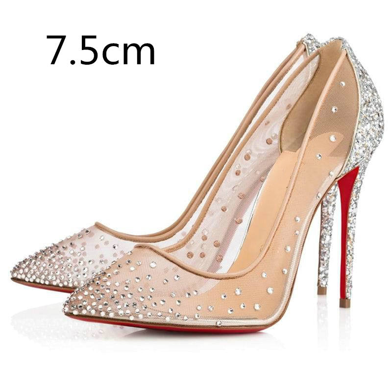 Pointed Rhinestone Mesh Breathable High Heels Red Bottom 2019 summer Classic Women's Fashion Single Shoes - Vipbeautycompany