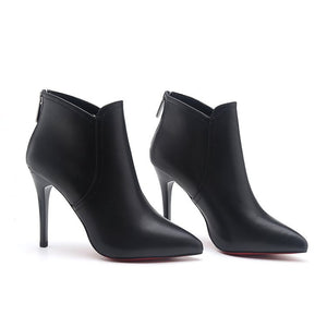 Red Bottom Shoes Ankle Boots Thin Heels Woman Dress Black Microfiber With Red Sole Pointy Toe PU Leather Ankle Bootie - Vipbeautycompany